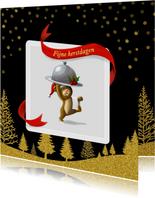 Kerstkaarten - Beertje serveert met gouden sneeuw en bomen