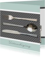 Uitnodigingen - Bestek grijs mintgroen