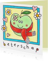 Beterschapskaarten - Beterschap appel met sjaal