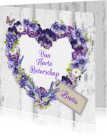 Beterschapskaarten - Beterschap hart bloemen