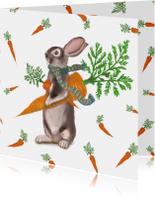Beterschapskaart van een konijn met heel veel wortels!