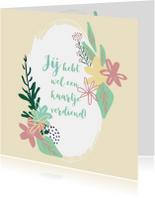 Felicitatiekaarten - Blanco felicitatiekaart met bloemenkrans