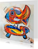 Kunstkaarten - Blanco kunstkaart vogel en schildpad