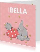 Geboortekaartjes - Blij geboortekaartje met vrolijk olifantje en gouden hartjes