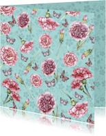 Felicitatiekaarten - bloemenkaart met anjers en vlinders