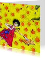Bloemenkaart met zonnige groeten