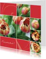 Bloemenkaart open tulp rozerood
