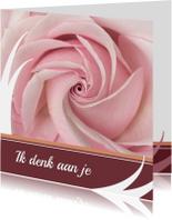 Bloemenkaarten - Bloemenkaart rozeroos balk