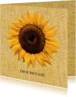 Bloemenkaart zonnebloem-hart