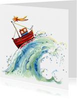 Kerstkaarten - Bootje op zee