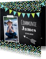 Communiekaart foto confetti slinger krijtbord jongen