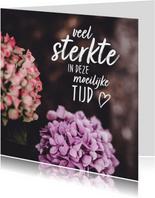Condoleancekaarten - Condoleance hortensia met bemoedigende tekst