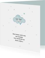 Condoleancekaart blauw wolkje met traantje