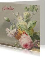 Condoleancekaart met antiek bloemenschilderij