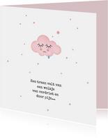 Condoleancekaarten - Condoleancekaart roze wolkje met traantje