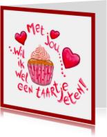 Valentijnskaarten - Cupcake voor Valentijnsdag