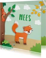 Dieren in het bos met vosje geboortekaartje