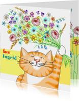 Dieren - kat met bloemen