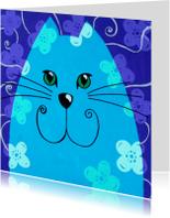 Dierenkaart blauwe kat