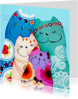 Kunstkaarten - Dierenkaart bohemian katten