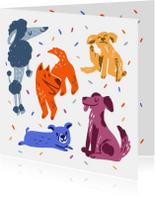 Dierenkaart feestelijke honden