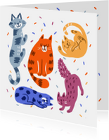 Dierenkaart feestelijke katten