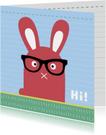 Dierenkaart-Konijn met bril-HK
