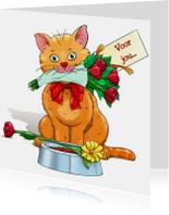 Dierenkaart leuke kat met bloemen en kaartje