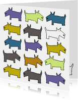 Dierenkaart met honden in blauw en oker