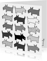 Dierenkaart met honden in zwart-wit