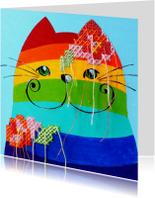 Dierenkaart regenboog kat
