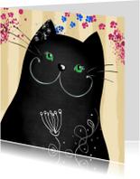 Dierenkaart zwarte kat