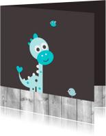 Felicitatiekaarten - Dinosaurus met vogeltjes