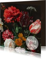 Een stijlvolle kerstkaart met vintage bloemenschilderij