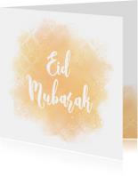 Eid Mubarak kaart met patroon en waterverf
