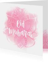 Eid Mubarak mandala met waterverf