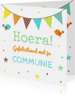 Felicitatie communie confetti vlag