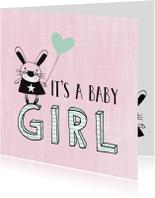 Felicitatiekaarten -  Felicitatie dochter silhouet konijn roze & mint - MW