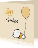 Felicitatiekaarten - felicitatie geboorte beer en ballon