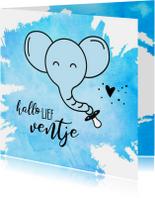 Felicitatie geboorte blauwe olifant met speen aan de slurf