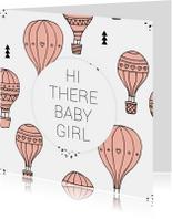 Felicitatiekaarten - Felicitatie geboorte luchtballon girl
