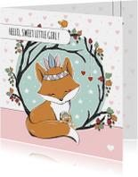 Felicitatiekaarten - Felicitatie geboorte meisje met vosje en beer