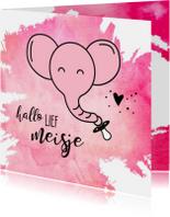 Felicitatie geboorte roze olifant met speen aan de slurf