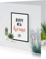 Felicitatie happy new home poster en planten