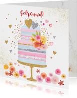 Felicitatie huwelijk taart pastel