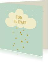 Felicitatiekaarten - Felicitatie jongen wolk sterren