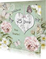 Felicitatiekaarten - felicitatie jubileum vintage bloemen