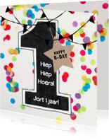 Verjaardagskaarten - Felicitatie kaart 1 jaar confetti