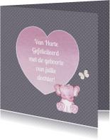 Felicitatiekaarten - Felicitatie meisje olifantje