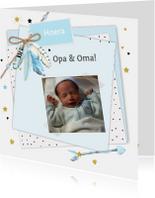 Felicitatiekaarten - Felicitatie opa en oma papiertjes veertjes
